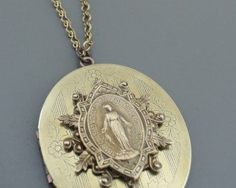 Vintage Locket- Virgin Mary Necklace - Catholic Necklace - Large Locket - Spiritual Necklace - handmade jewelry