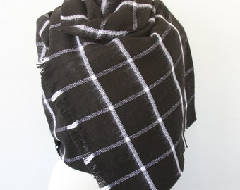 Black plaid scarf tartan scarf Scottish mens scarf unisex scarves winter wrap fall scarf christmas gift under 20 gift for him boyfriend gift