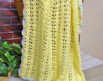 Yellow Crochet Baby Blanket Afghan Pastel Border Handmade Knitted Newborn Gift for Girl or Boy