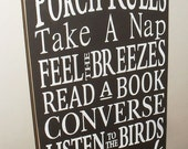 25% OFF TODAY Porch Decor Porch Rules Sign Typography Subway Art Wooden Sign 12 x 24 You Pick Colors