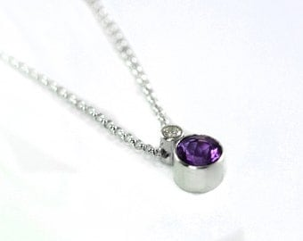 Conflict Free Diamond and Amethyst Gemstone Petit Charm Pendant Necklace - Handmade Sterling Silver Necklace - Birthstone, Mother's Necklace