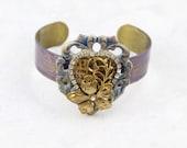 Heart Cuff Bracelet, Inspirational Quote Bracelet, Victorian Inspired Jewelry, Heart Bracelet -  B14