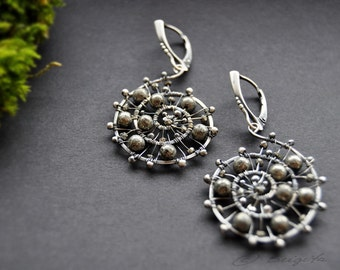 Pyrite and Antiqued Sterling Silver Wire Earrings / Wire Wrapped Spiral Earrings / OOAK