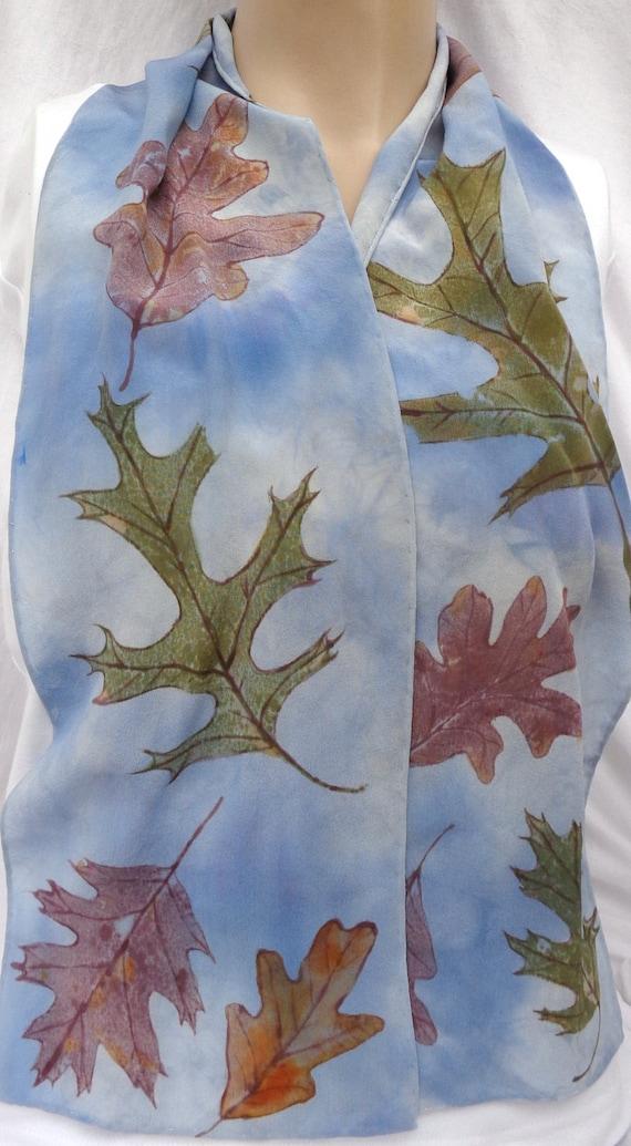 silk crepe scarf Oak Leaf blue sky clouds hand painted wearable art women rust brown unique long