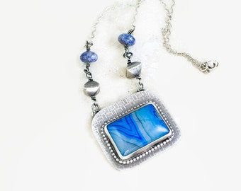 Blue Agate Pendant in Sterling Silver Handcrafted