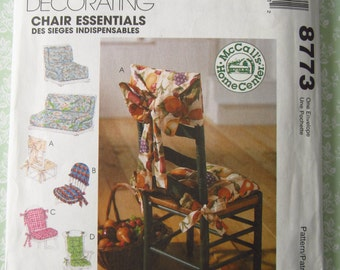 Home Decorating Chair Essentials~Futon Covers, Chair Covers and Chair Cushions UNCUT McCalls Pattern 8773