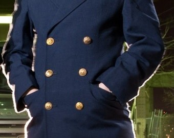 1960's New Vintage Military Style French Airforce Gabardine Overcoat
