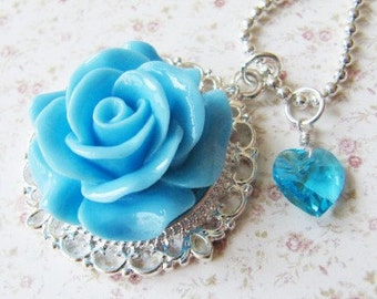 Blue flower pendant necklace, blue jewelry, heart necklace, blue flower girl jewelry, romantic jewelry, for her