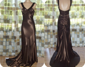 Vintage 90s Dress | 1990s Formal Gown | Retro 30s Gown | Brown Liquid Satin | Bias Cut Harlow Gown With Train | Flapper Gatsby | Sz Small XS