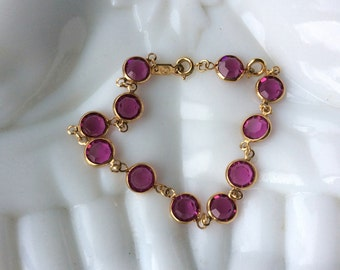 Classic Swarovski Fuschia Crystal Bracelet - Bezel Setting - Can be Shortened