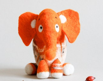 Gisela - Felt Elephant Art Toy. Puppet, Marionette. Felt toy. Mothers Day Gift. Stuffed Toy, Spring Toy. orange bright sunny . READY TO SHIP