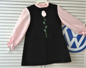 70's 60's Vintage Girls Velveteen Dress/Black & Pink/Pink Rose 3D Applique/Ruth's Originals/ size 6x 7 Theater Costume Pageant Child Kid