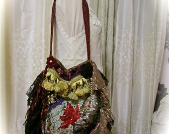 Bohemian Gypsy Purse, wild edgy rocker bag, sturdy thick upholstery fabric, rococo bag, shoulder bag, black lace OOAK baroque bag