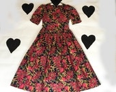 80's Laura Ashley Cotton Printed Tea Party Dress 1980's English Rose Floral Printed Princess Dress / Prom / Romantic / Cosplay / Dolly / 6 8