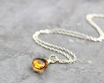 Citrine Necklace Sterling Silver Briolette Pendant Drop November Birthstone Simple Necklace