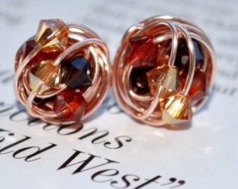 Fall Series - Handmade Wire Wrapped Rose Gold Stud Earrings - New England Foliage Inspired Swarovski Crystal Beads