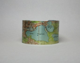 Orlando Winter Park Florida Map Cuff Bracelet Unique Gift for Men or Women
