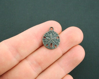8 Sand Dollar Charms Antique Dark Copper Tone - BC908