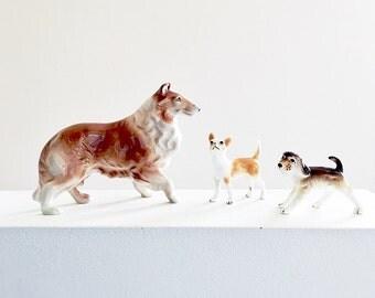 Assorted Porcelain Dog Figurine Trio Vintage Mid Century Collectible Ceramics Collie Beagle Terrier Hound Mans Best Friend Dog Lover Gift