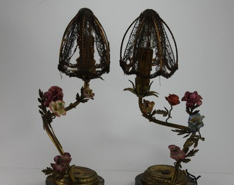 Vintage Porcelain Flower Floral Brass Lamps Made In France Gold Gilt Marble Base & Lace Shades Boudoir Parisian Shabby Cottage Style Pair