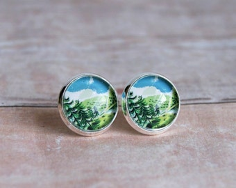far away lands silver plated cabochon earrings, studs, post, faux plugs, forest, blue green