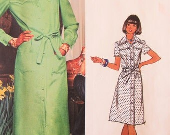 Vintage Vogue 1072 Sewing Pattern, Chuck Howard Design, 1970s Dress Pattern, Shirt Dress, Bust 34, 1970s Sewing Pattern, Vogue Americana