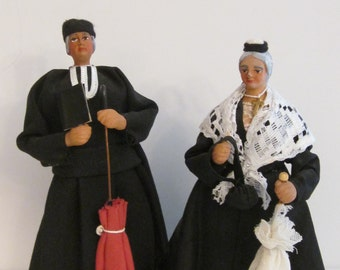Exquisite pair of French Santons de Provence by Gelato - Handpainted Clay Figures - Village Priest and Elderly Widow Lady