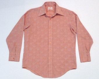 Crown Shirt Vintage Royal Orange David Harrison Shirt 1970s Hanison Dress Shirt Wide Collar Woven Crown Pattern Royalty King Monarchy Throne