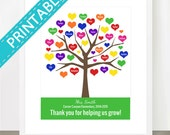 DIGITAL FILE TEACHER Tree, Printable, Personalized Class Names, Teacher Appreciation, Class Gift, End year. Teacher gift, jpg, pdf, 8x10