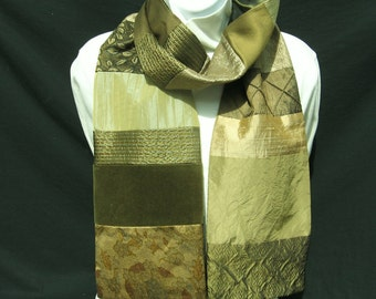Olive Green Scarf, Patchwork Scarf, Men's Silk Scarf, Pieced Scarves, Scarf For Him, Dressy Scarf, Evening Scarf, Elegant Silk Scarf, OOAK