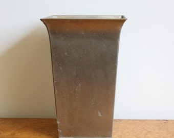 Vintage Smith & Hawken Square Tapered Nickel Vase Container