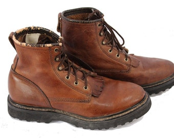 Vintage Work Boots Brown Leather Double-H Oil Resistant Soles Kiltie Boots