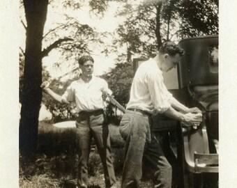 "Vintage Photo ""Bert's Last Mistake"" Men Funny Joke Snapshot Photo Old Antique Picture Black & White Photograph Found Paper Ephemera - 38"