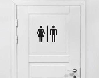 Bathroom Vinyl Decal - Bathroom Decor, Male Female Restroom, Bathroom Vinyl Sticker, Men's Women's Bathroom Vinyl, Bathroom Sticker 9x7.5