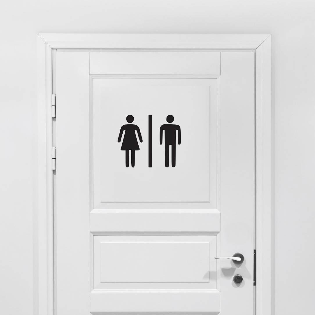 Bathroom vinyl decal bathroom decor male female restroom for Bathroom design 9x7