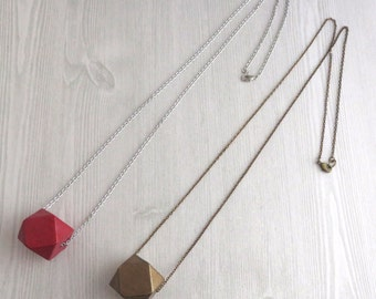 Quattordecim - One Long Brass or Red Silver Geometric Necklace with Polyhedron Wood Pendant (Geometrische Halskette) by InfinEight