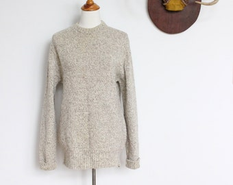 Vintage LL Bean Sweater // Wool Oatmeal Sweater Mens Small Womens Medium // LLBean Camp Sweater