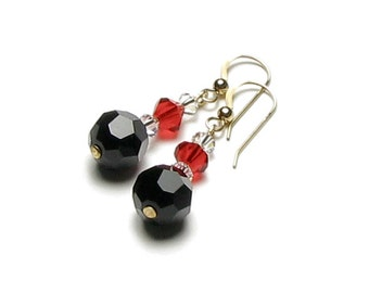 Black Red Clear Swarovski Crystal Dangle Earrings Queen of Hearts Night Out Glam Alice Wonderland Jewelry Bold Classic Gothic Victorian Gift