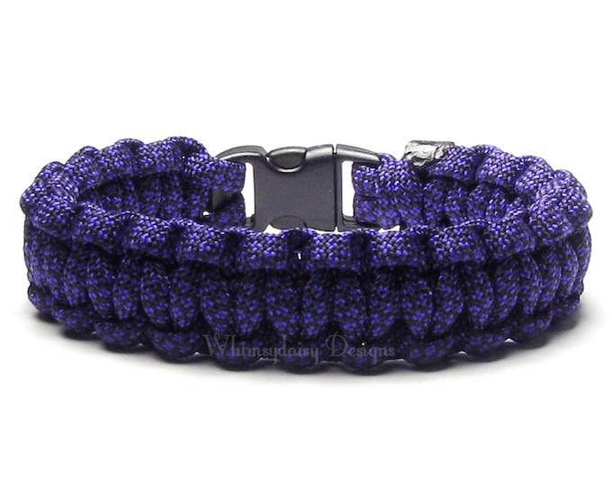 Paracord Bracelet Acid Purple Diamond Survival Accessory Outdoorsman Veteran Biker Groomsman Military Mom Camping Gift For Hikers Friendship