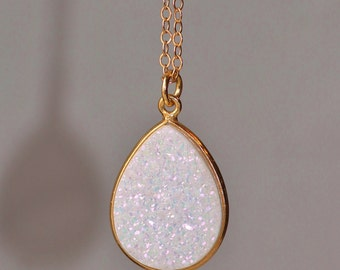 NEW White Rainbow AB Druzy Quartz Pendant Necklace,14K Gold Vermeil Druzy Necklace,Pear Teardrop,Layering Layer Minimalist Jewelry,Geode