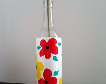 Hippie Flowers Painted Wine Bottle