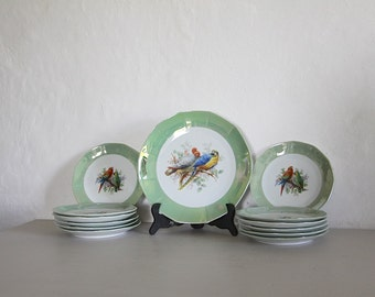 French Vintage Cake Serving Plate and Matching Dessert Plates, Art Deco 12 Plates and Large Serving Plate, Decorated with Birds Green Trim