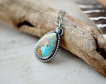 Royston turquoise necklace, silver necklace, turquoise pendant, southwestern jewelry