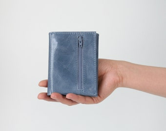 Genuine Leather Trifold Wallet Dusky Blue, mens wallet, flat wallet