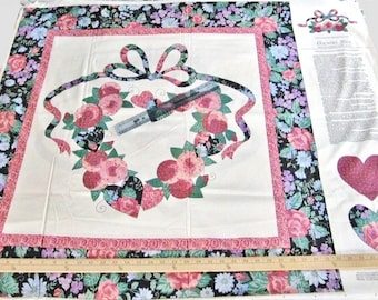 """Springs Industries Cut and Sew Wall Hanging, Country Love Heart Wreath, Cotton Fabric Panel Piece 44"""" W X 72"""" L, Quilt Top, Pillow, Sachets"""