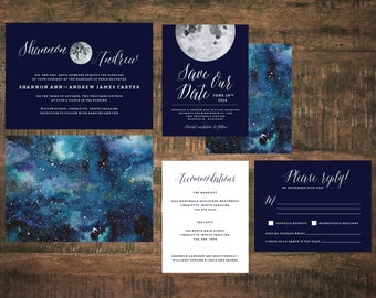 Constellation Wedding Invitation Set (Set of 25) | Starry Night Wedding Invitation, Invitation Suite, Blue