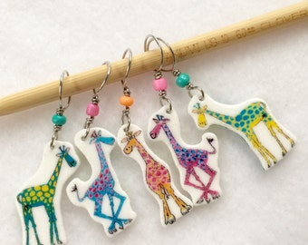 whimsical giraffe stitch markers, snag free knitting stitch markers, fun knitting accessory