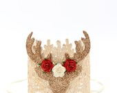 Holiday || Boho Reindeer flower lace crown || photo prop || shelf decor or cake topper