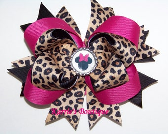 Minnie Mouse Hair Bow or Headband /  Cheetah + Hot Pink & Black / Disney / Pageant / Infant / Baby / Girl / Toddler / Custom Boutique