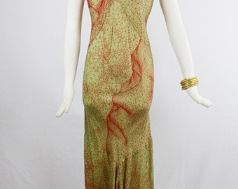 Vintage JEAN PAUL GAULTIER Graphic Face Web Maxi Slip  Dress With draping and Fish Tail Size small 40